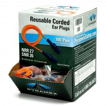 Reusable Corded Triple Flanged Ear Plugs (Box of 100 pr)